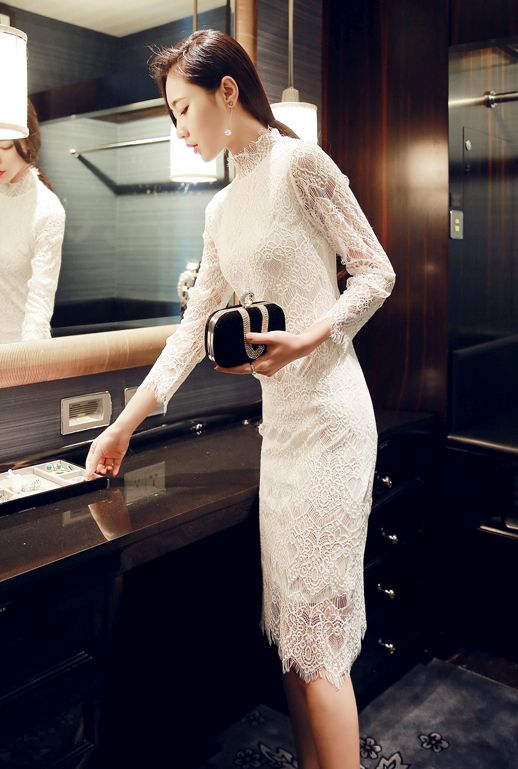 DRESS WANITA KOREA - White Lace Dress